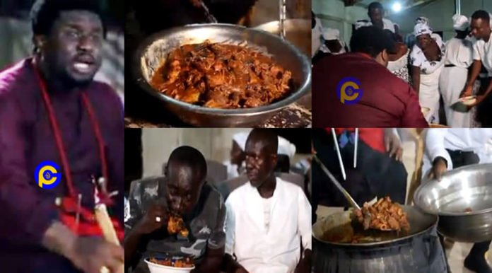Video of a Ghanian pastor who shares fufu and cow meat soup after church service goes viral [Watch]