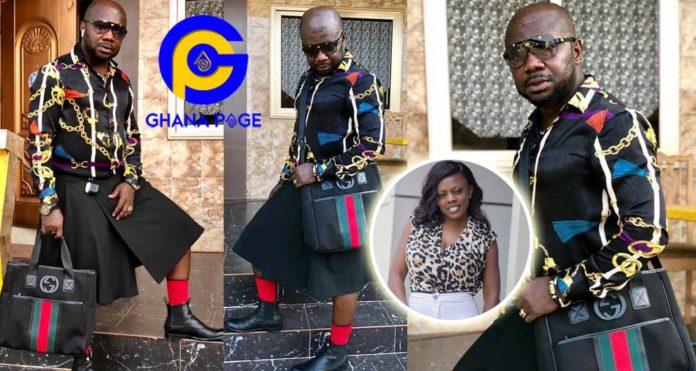 Photos of Nana Aba's baby daddy Osebo stylishly roaming town wearing skirt & shirt again go viral