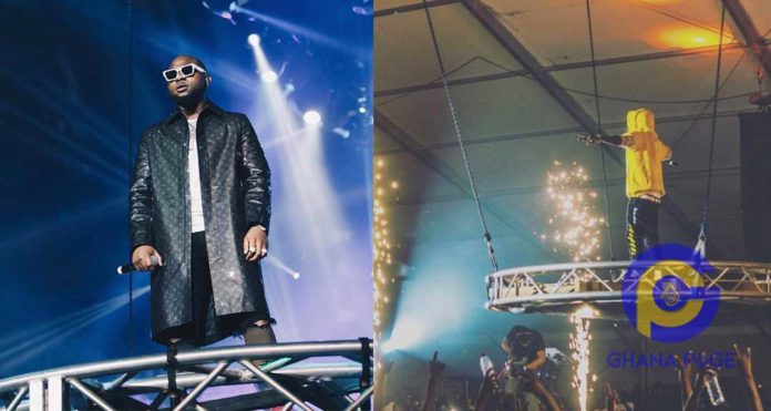 Photos: Davido mocks Shatta Wale for copying his O2 concert entry for his 3Music Awards performance