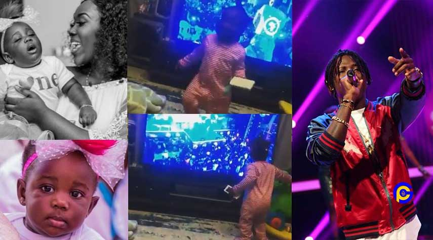 Stonebwoy's daughter priceless reaction when she saw him on tv