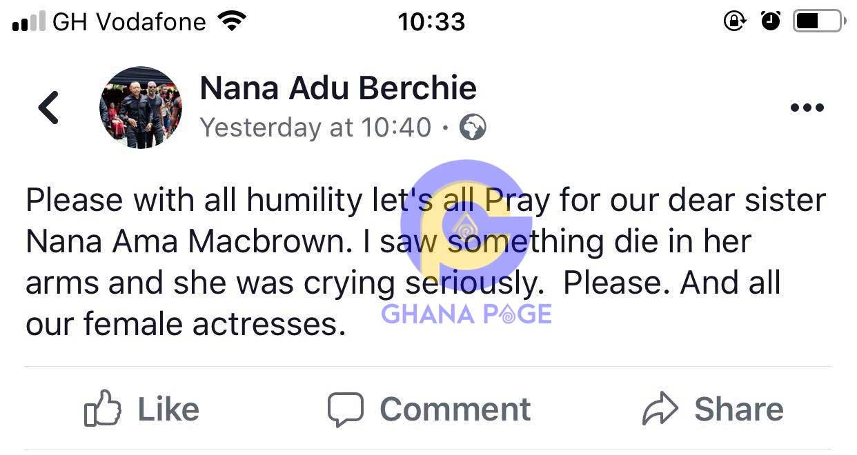 Nana Ama Mcbrown daughter die - I saw Mcbrown's daughter die in her arms-Owusu Bempah's Jnr pastor