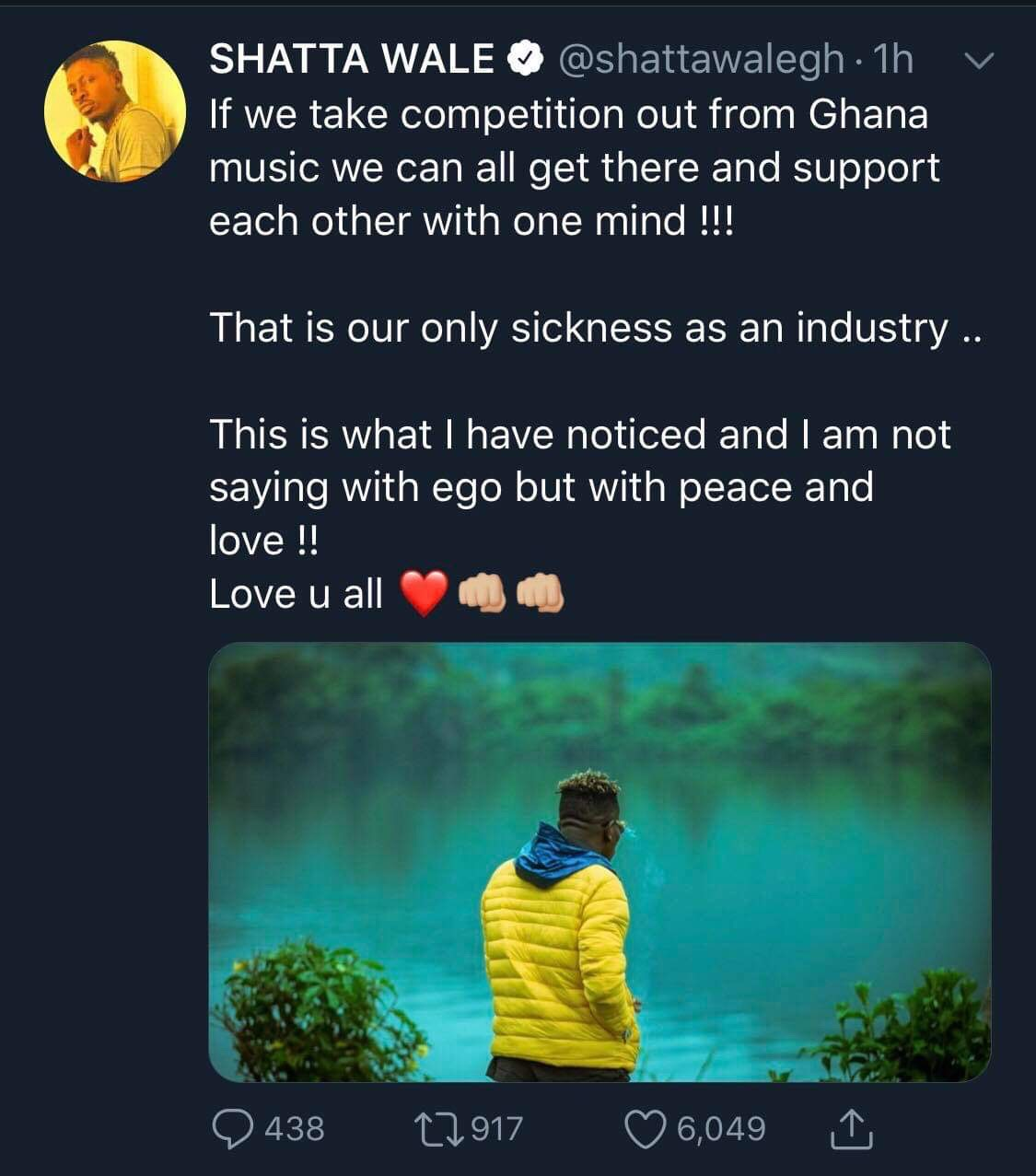 Shatta Wale's post - Competition is the disease in Ghana's music industry- Shatta Wale