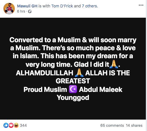 Popular AMG signee converts to Islam because it's peaceful
