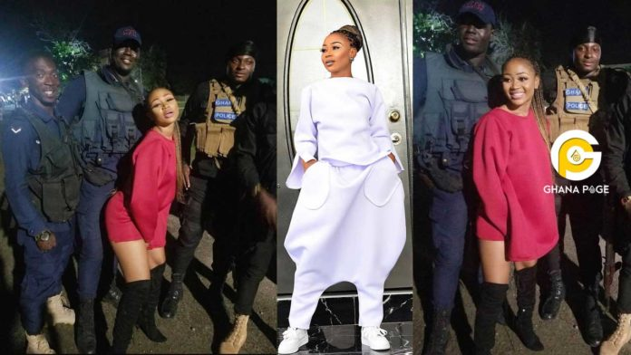 Photos of S£xy Akuapem Poloo twerking on 4 strong policemen hit online (See)