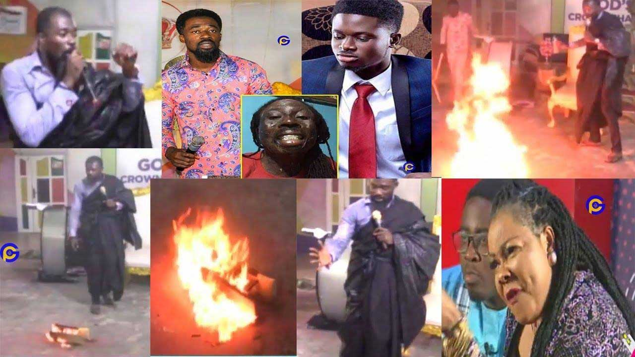 Eagle Prophet pours his blood as he spits fire on his enemies