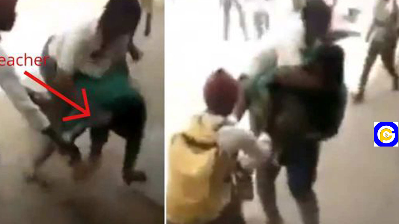Angry SHS students gang up to beat teacher in school for punishing one of them(Video)