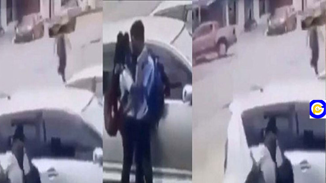 Father mercilessly beats his SHS daughter after he saw her kissing a colleague in the streets