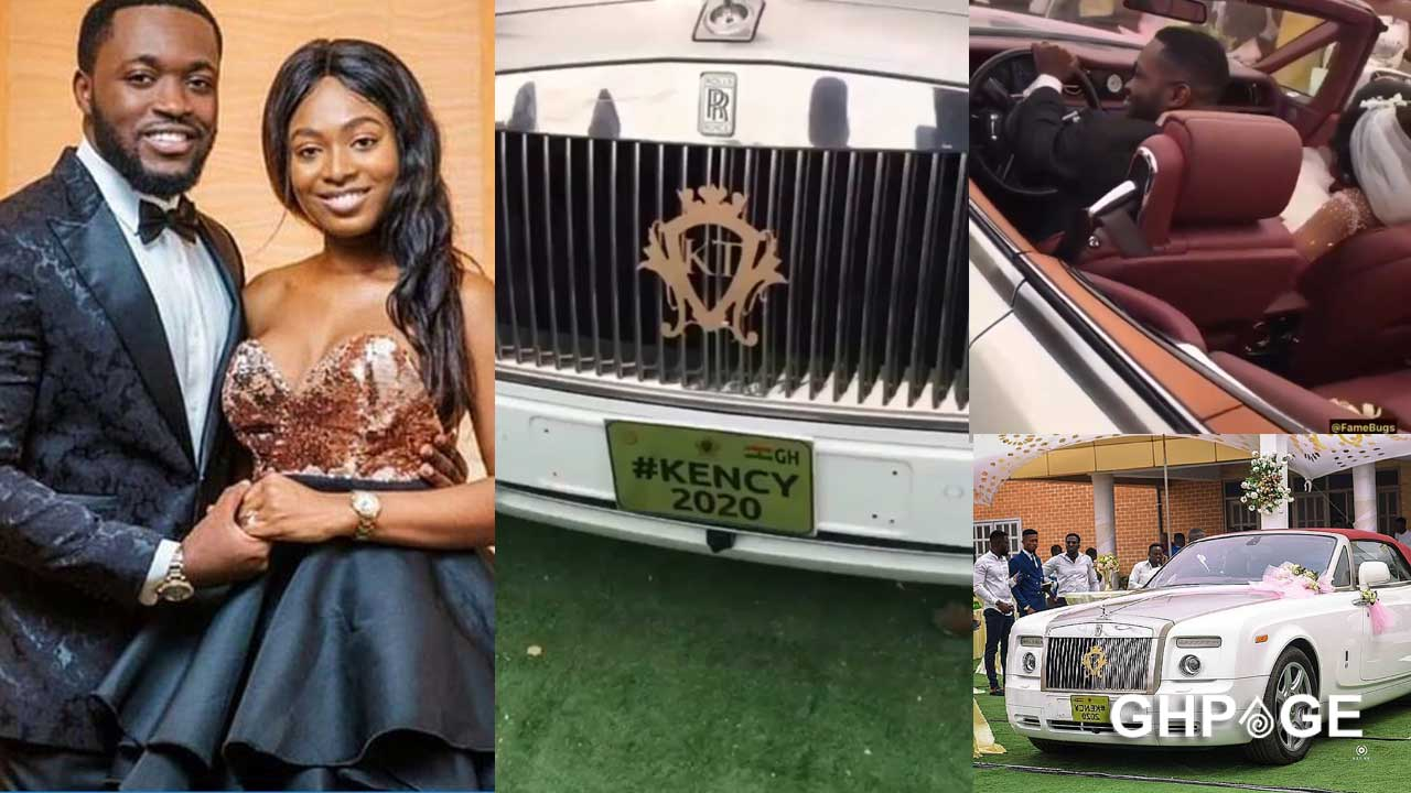 Moment Mr. & Mrs. Osei Asante rode in a customized Rolls Royce to their white wedding