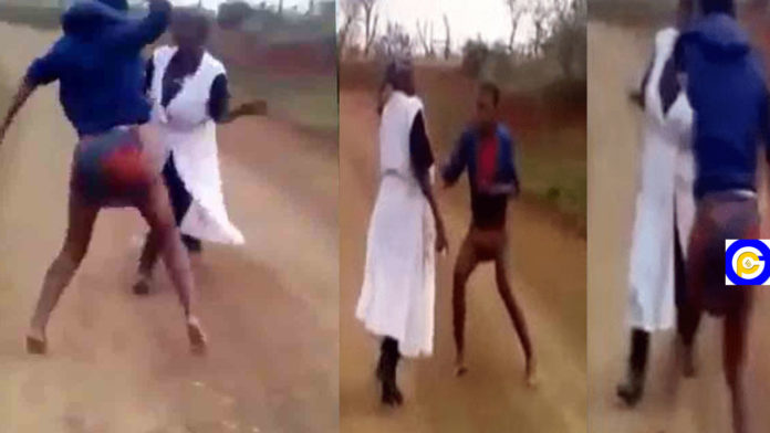 Lady-flogs-her-mother-to-stupor-after-her-pastor-revealed-she-is-a-witch-Video