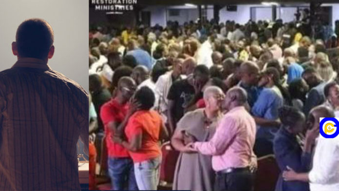 Man-of-God-orders-church-members--to-randomly-kiss-each-other-during-church-service