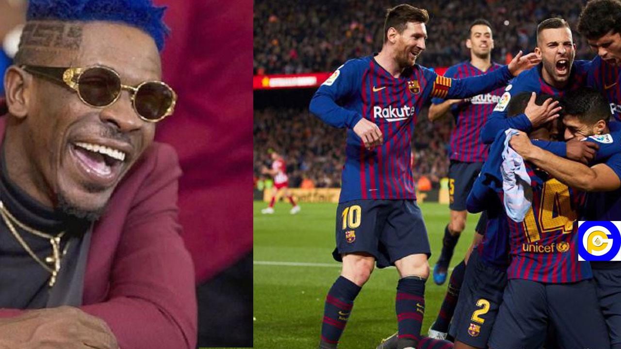 "Shatta wale goes global as FC Barcelona jams to ""Bojor"" ahead of their match"