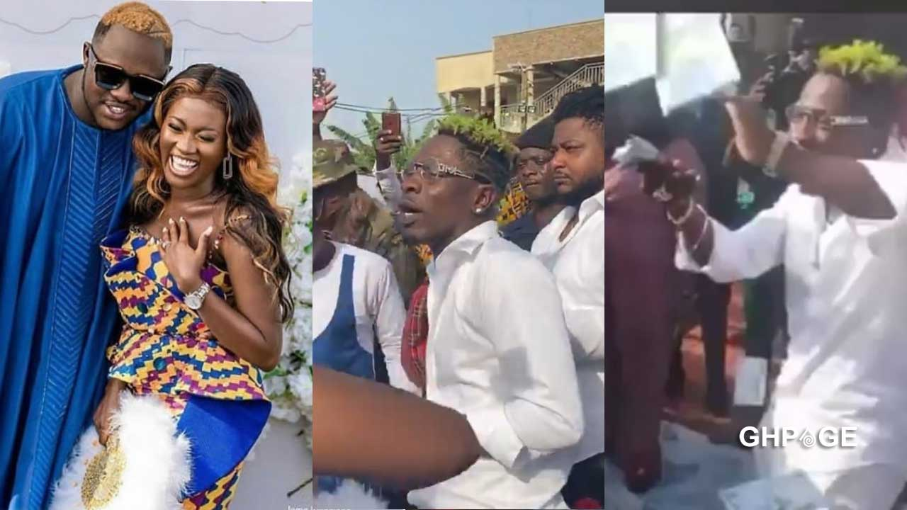 Video of Shatta Wale spraying cash on Fella Makafui moments before she collapsed goes viral