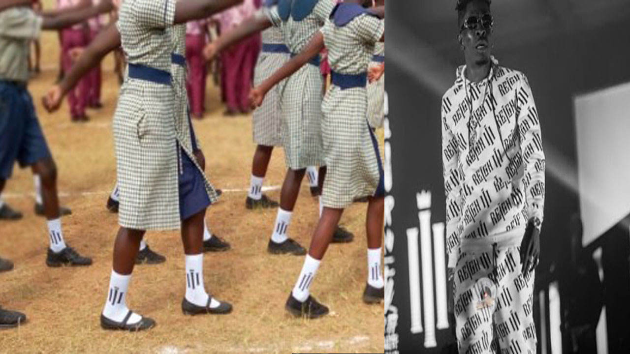 School children march at 63rd Independence parade in Shatta Wale's 'reign' branded socks