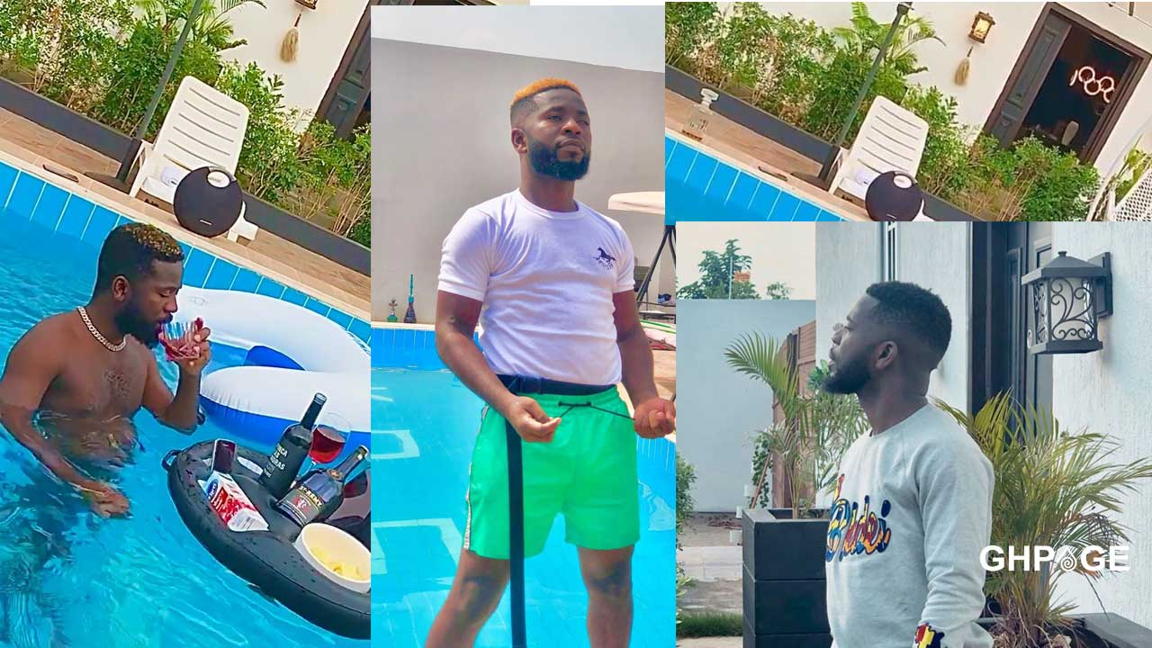 Bisa Kdei sends social media buzzing after sharing a video of his huge mansion with a swimming pool