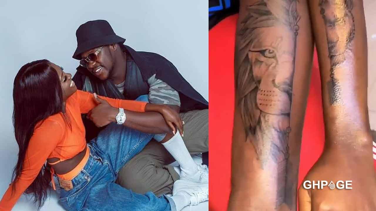 CoupleGoals: Medikal and wife Fella Makafui flaunts their new tattoo on social media