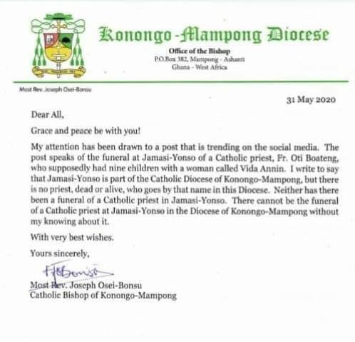 Konongo-Mampong Bishop clears the air on alleged report of priest giving birth to 9 children with his secret wife