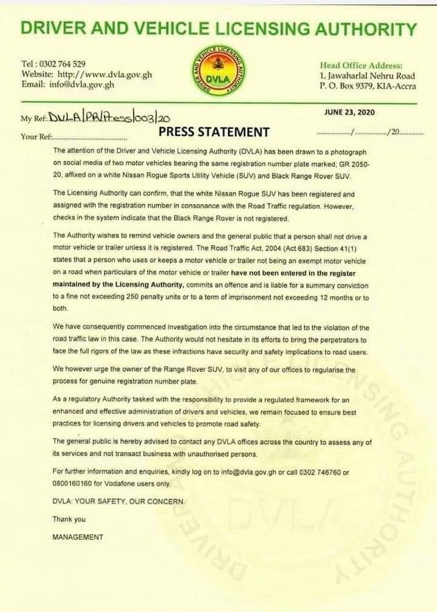 DVLA Issues statement on Nana Aba's fake Range Rover Birthday Gift