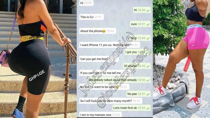 Chat of the Legon Slay Queen offering sex for iPhone