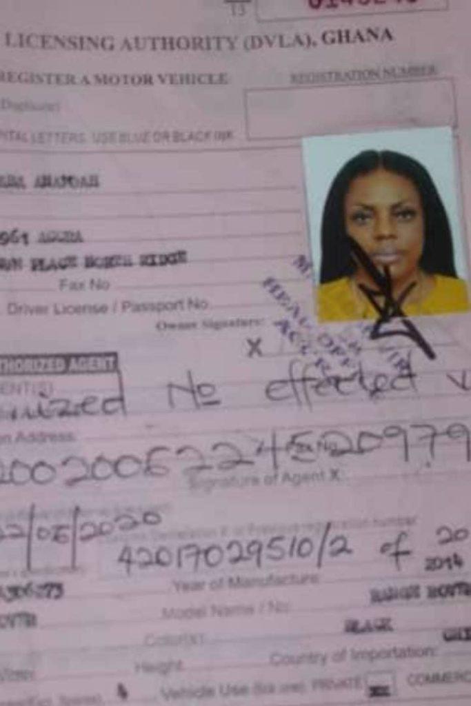 Nana Aba Anamoah Registers her Range Rover
