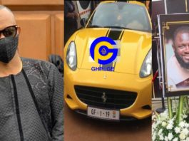 Father Dickson arrived at Kwadwo Wiafe's funeral in a yellow Ferrari