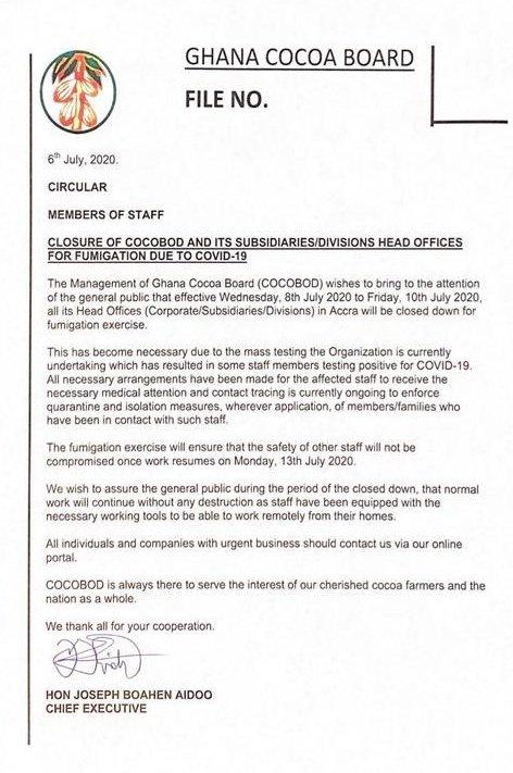 Ghana COCOBOD COVID-19 press statement