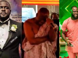 Kwadwo Wiafe's father cries as he read tribute for his son at his funeral service