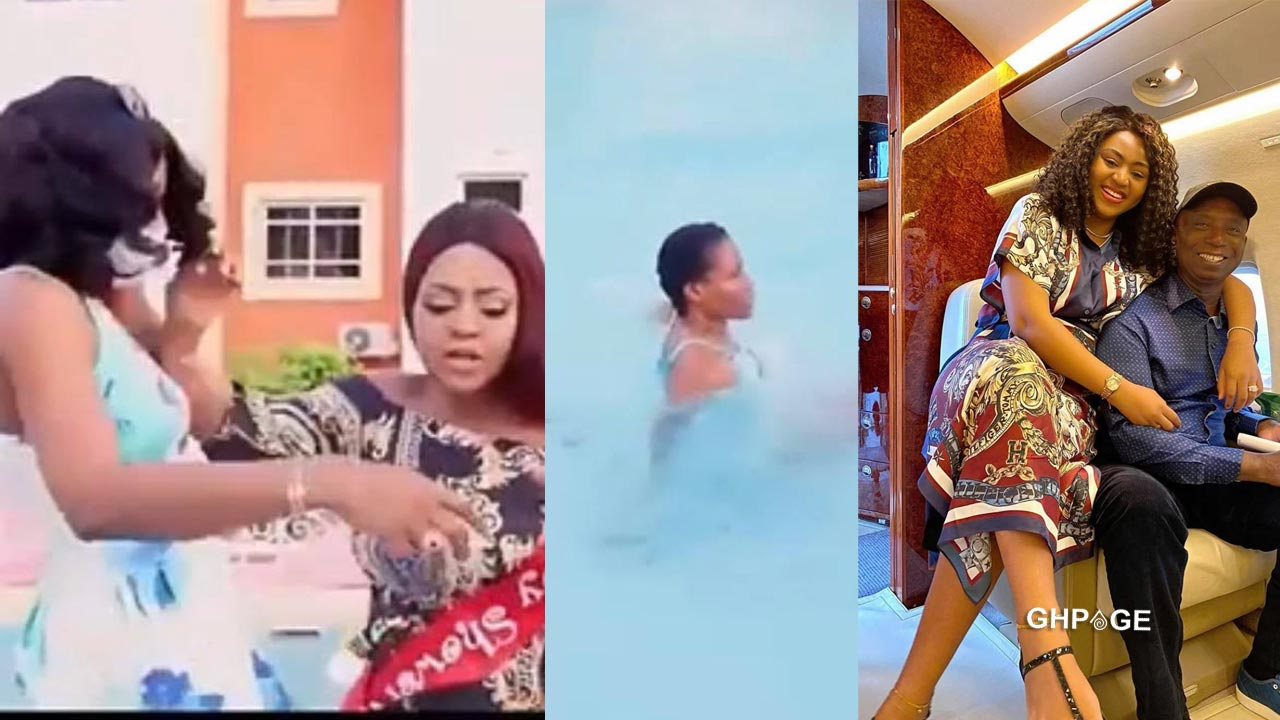 Regina Daniels pushes house girl into a swimming pool during argument