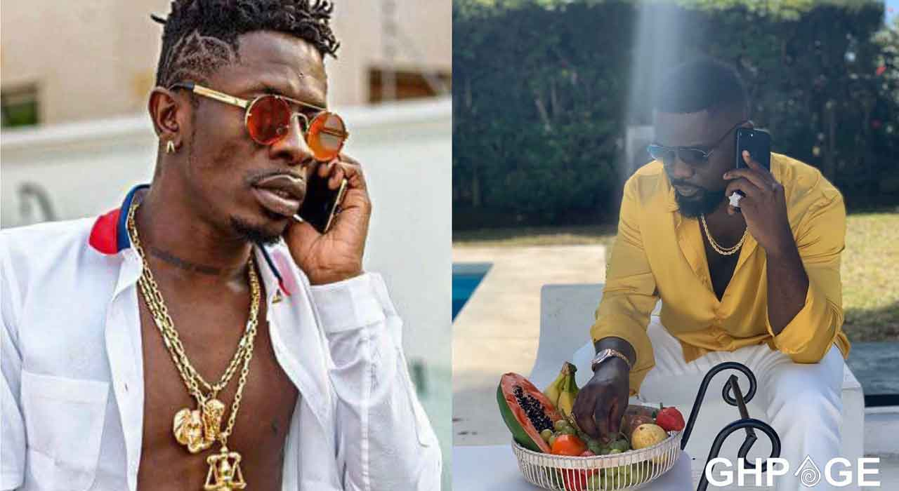 Sarkodie and Shatta Wale in a phone conversation;finally make peace on his birthday