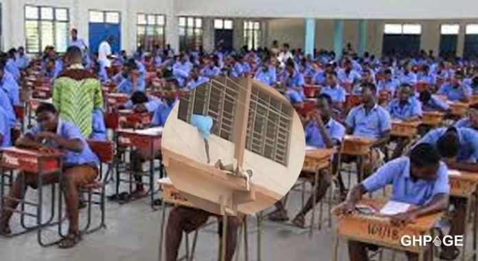 Man-caught-sneaking-answers-to-WASSCE-students-on-the-topmost-floor-of-a-building