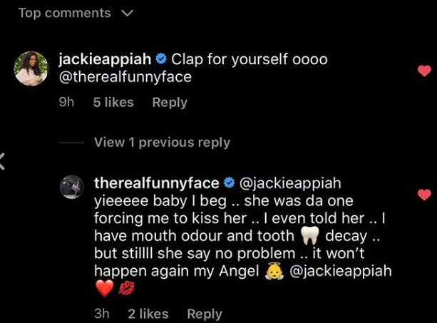 Funny face flirts with Jackie
