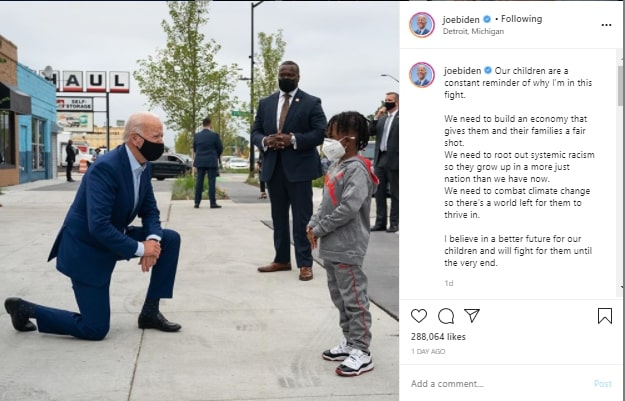 Joe Biden post on IG