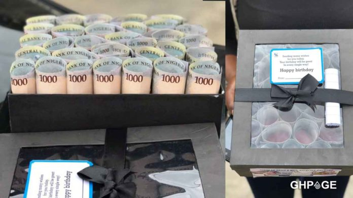 Lady gifts boyfriend a box full of cash to mark his birthday