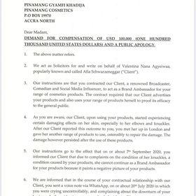 Afia sues Pinamang Cosmetics