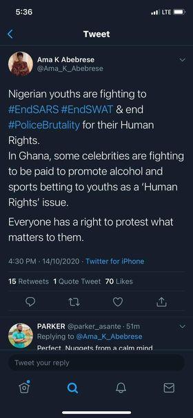 Ama K. Abebrese tweet