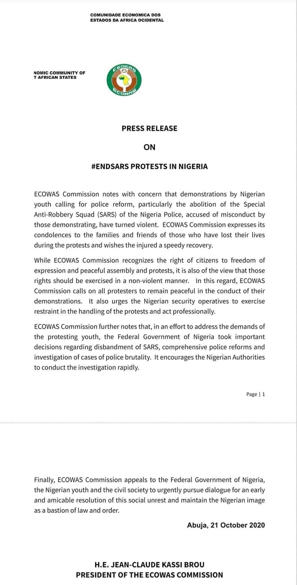 ECOWAS Speaks on #EndSARS brutalities