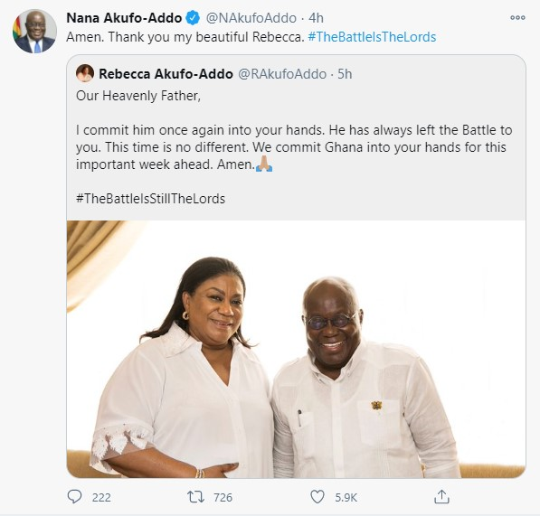 Akuffo Addo's response to First Lady