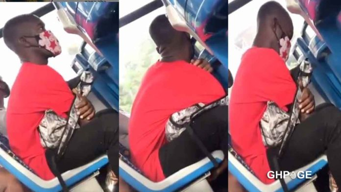 Guy busted secretly recording a lady's private part on a moving bus