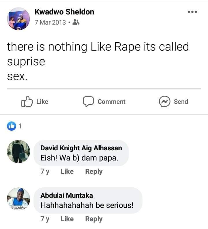 Kwadwo Sheldon exposed as a rape apologist