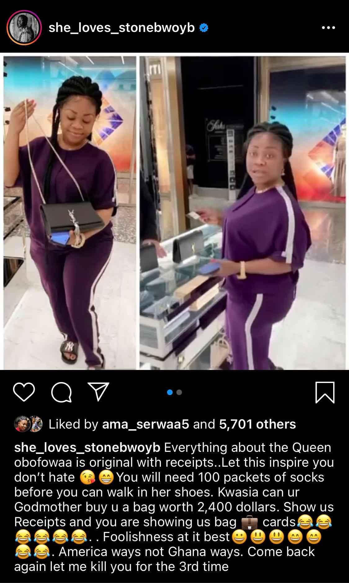 Obofowaa buys a bag with $2400 for Ayisha Modi