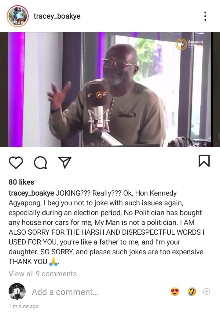 Tracey Boakye apology post