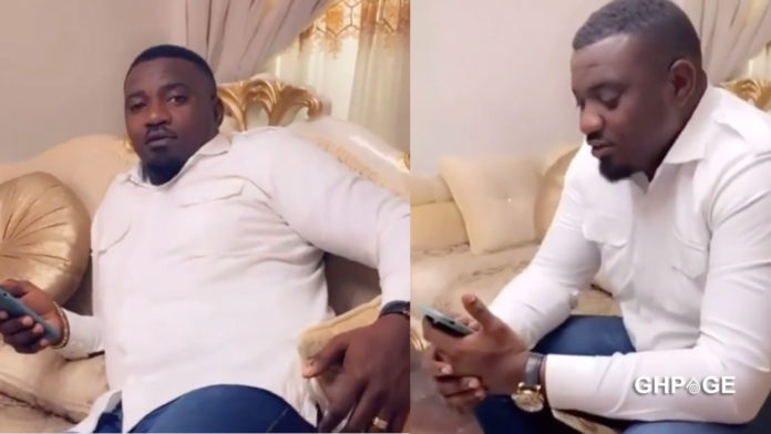 John Dumelo spotted on a movie set after losing the parliamentary election (VIDEO)