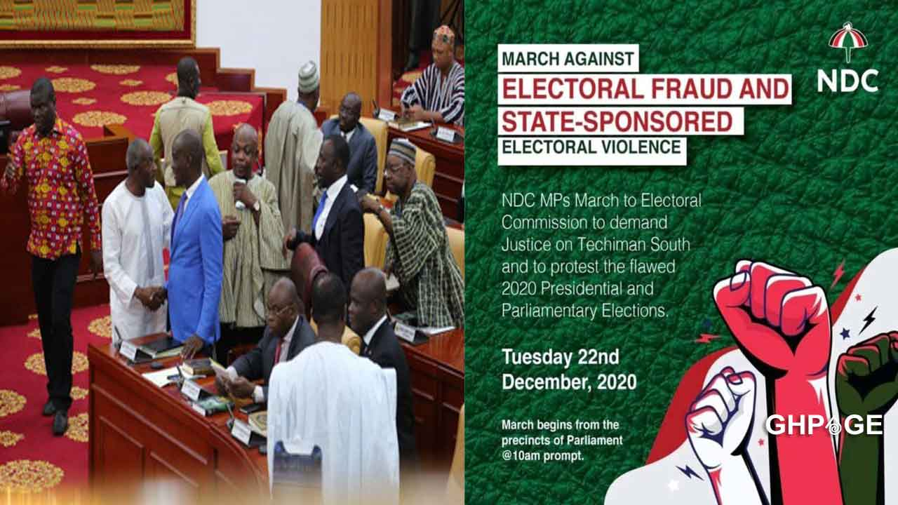 NDC MP's march to EC headquarters to protest over election results