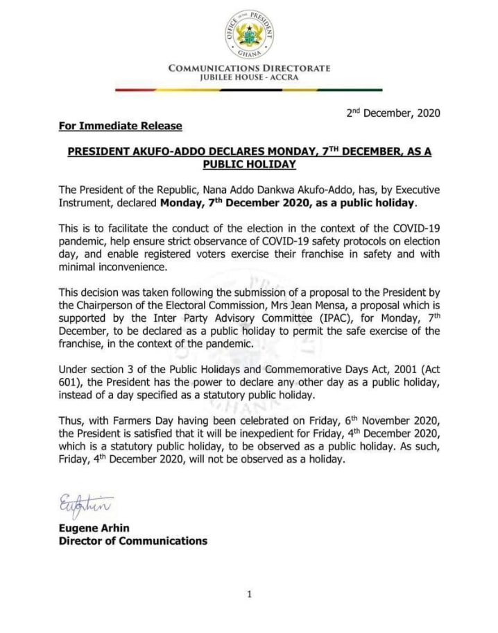 Press Release from the Presidency