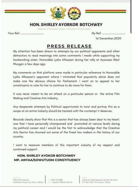 Shirley Ayokor Botchwey Press Release
