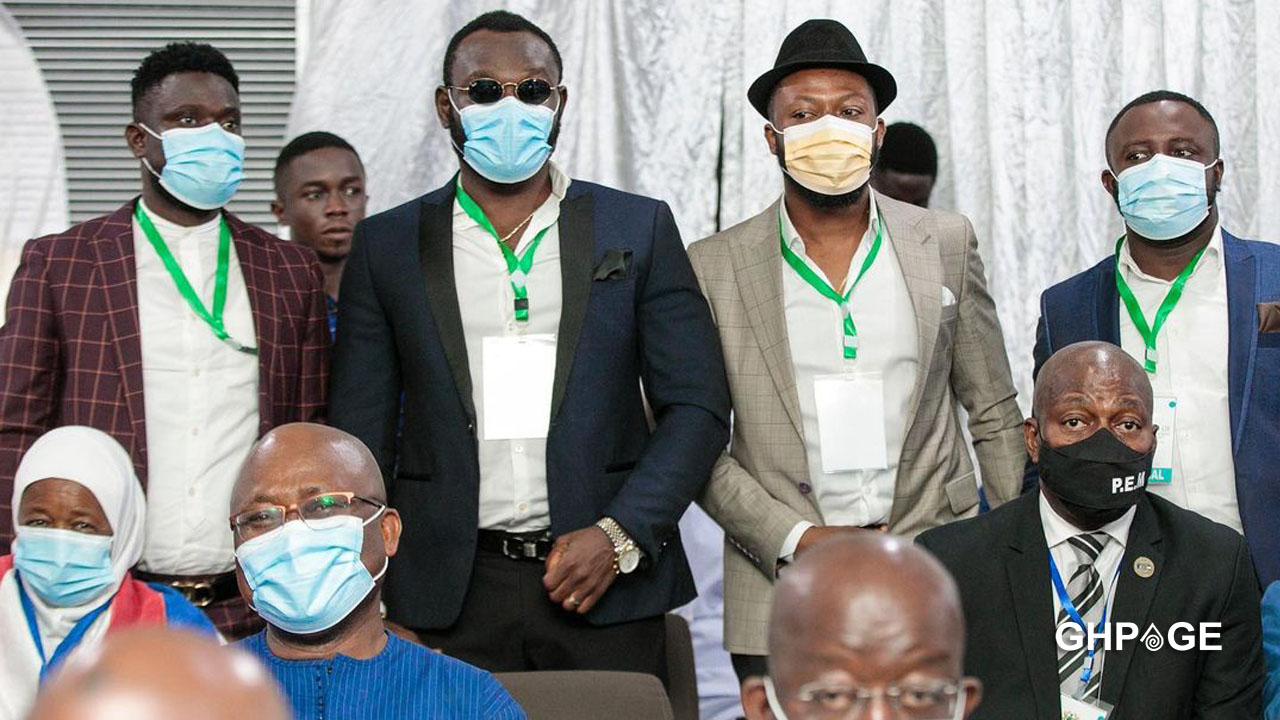 Kalybos, Prince David Osei, Jeneral Ntatia, and Bismark The Joke spotted at President Akufo-Addo's inauguration