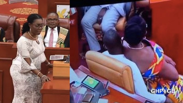 Rare moment when Ursula Owusu was caught on camera sitting on a male NDC's laps in parliament