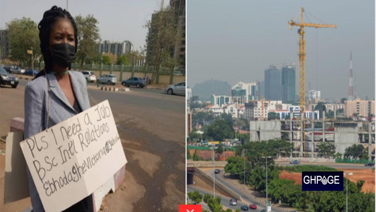 Frustrated lady hits the street with cardboard to beg for job, stirs massive reaction