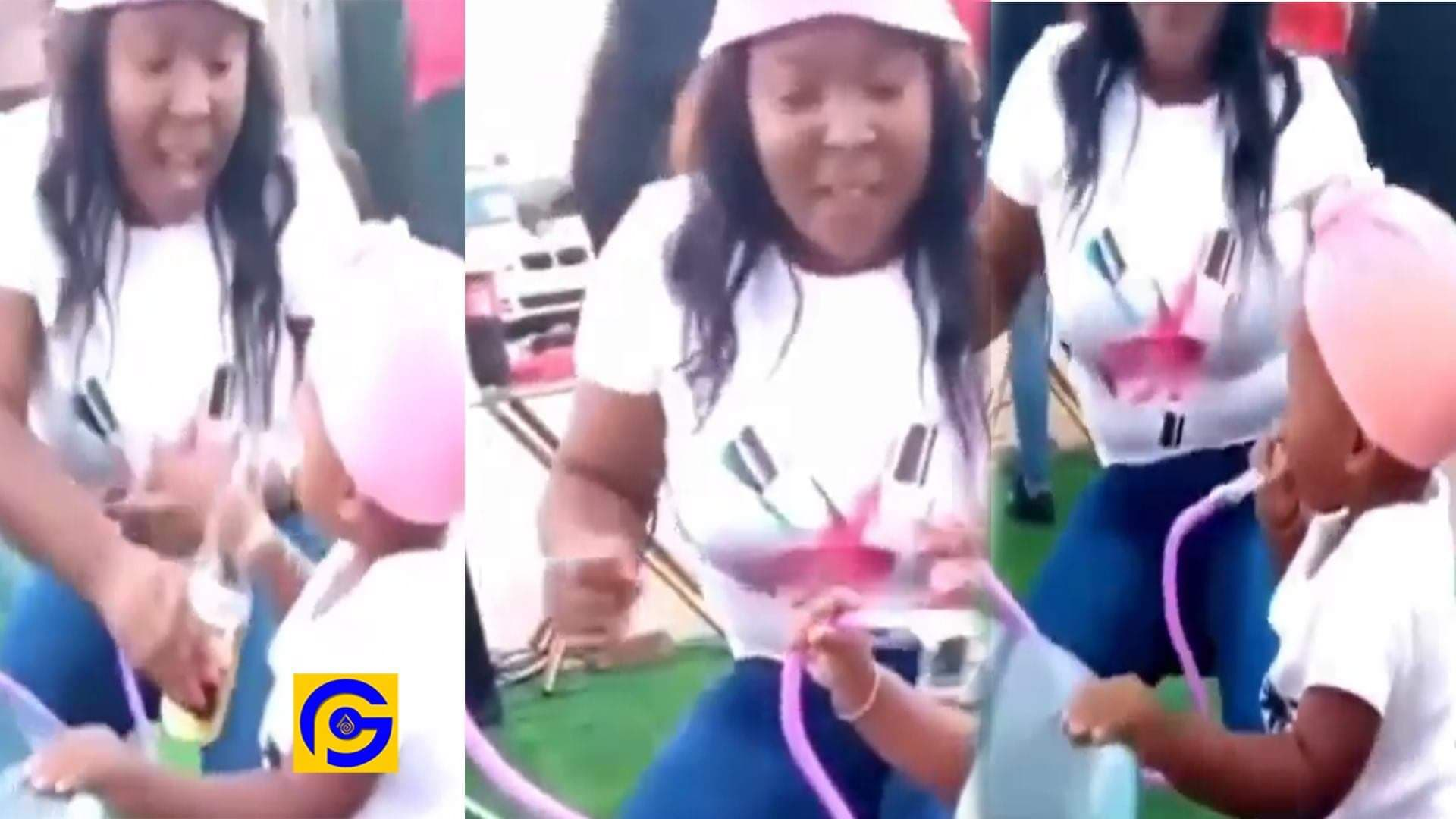 Woman gives her little daughter shisha to smoke at a party