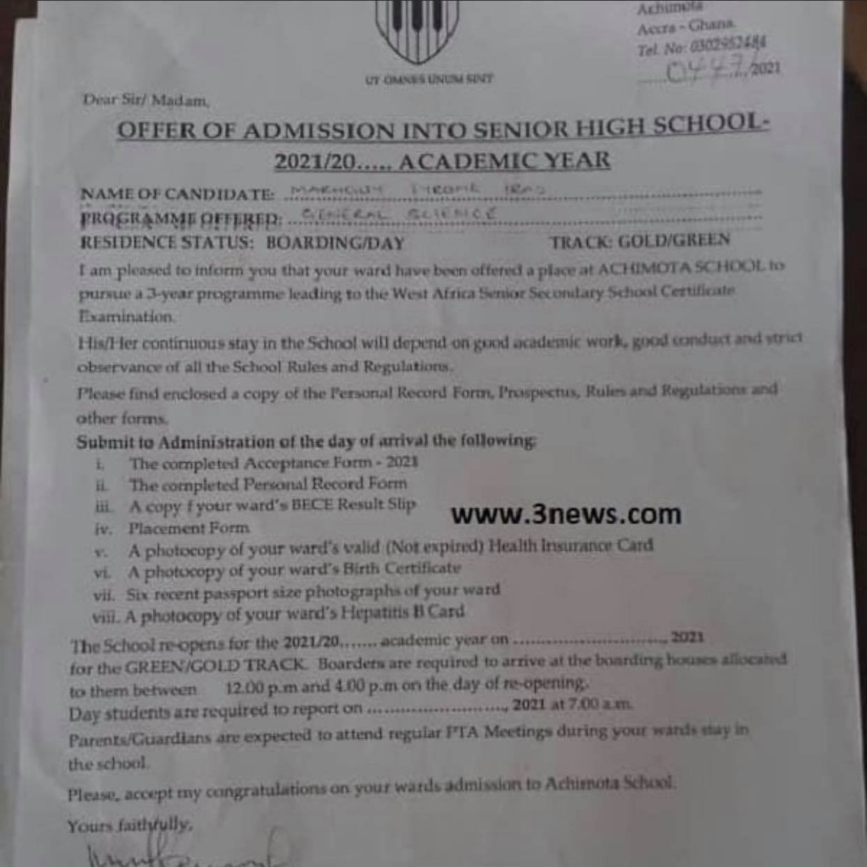 Certificate and other documents of Tyrone Iras Marghuy, the Achimota rejected Rastafarian