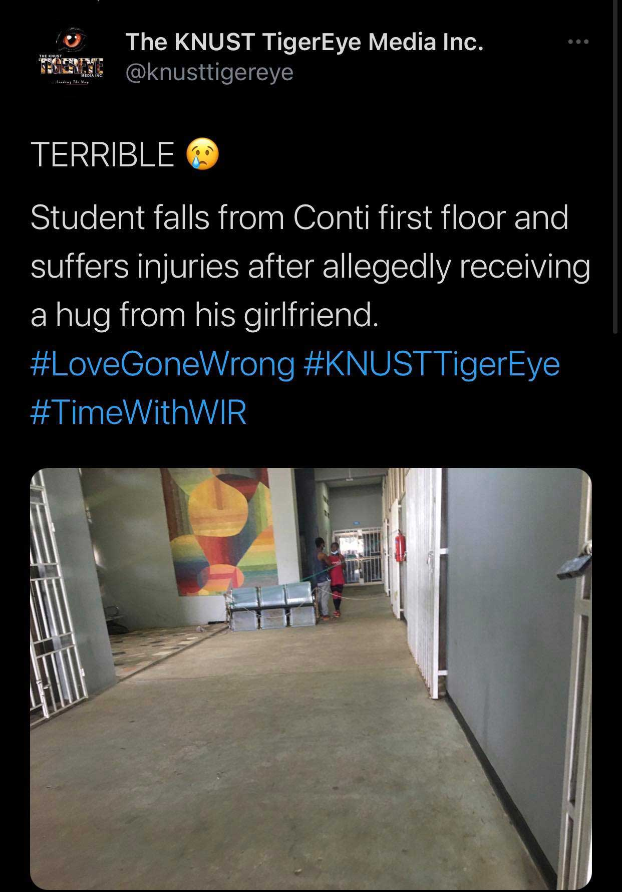 Student falls from first floor of Conti Hall